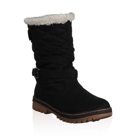 snow boots with fur dd15 womens quilted faux fur grip sole winter snow
