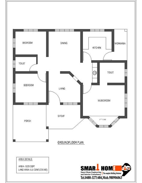 single floor 3 bhk house plans 1320 sqft kerala style 3 bedroom house plan from smart