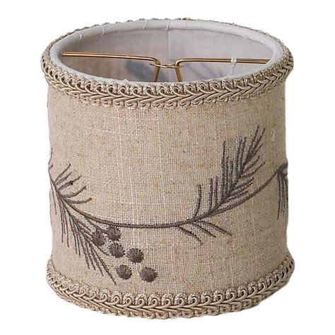 Burlap Drum Shade Chandelier 4 Quot Pine Bough Linen Drum Chandelier Shade Candle Clip Burlap Chandelier Shade Embroidered With
