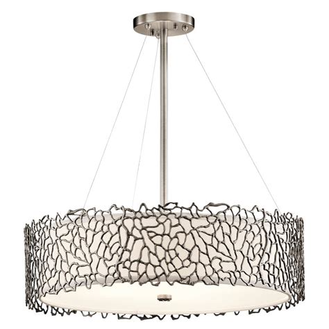 Drum Lighting For Ceilings Kichler 43347clp Silver Coral Modern Classic Pewter Finish 22 Quot Wide Drum Ceiling Light Pendant