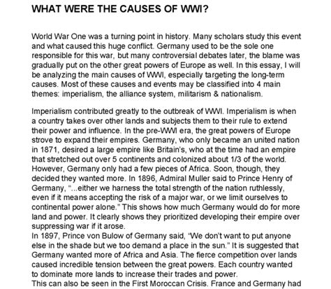 1 Page Essay Describe How Ww1 Was A Costly And Global War by Explain The Causes Of World War One Gcse History Marked By Teachers