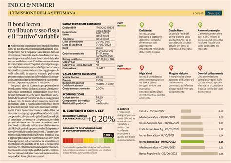 iccrea rating bond iccrea buon tasso fisso ma cattivo variabile norisk