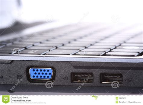 laptop port vga and usb ports on side of laptop computer stock image