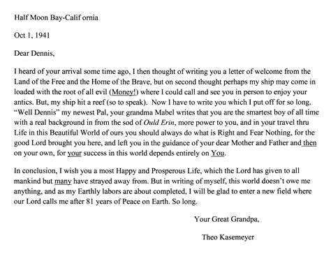 Letter Response To His Coy The Following Are Two Letters From Theodor Kaesemeyer The To His Great Grandson Dennis