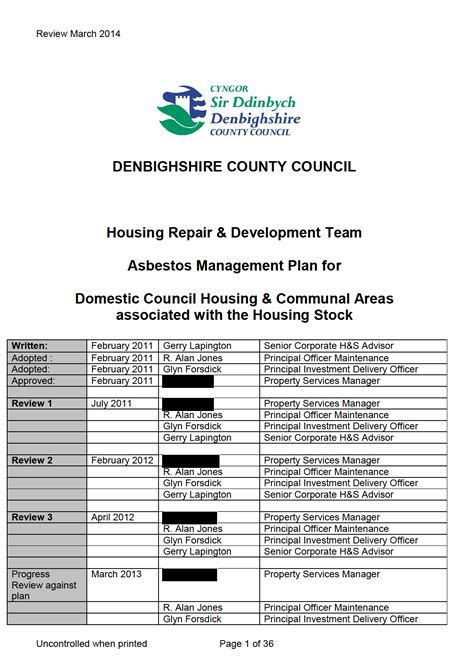 Dcc Asbestos Management Plan Pdf Pdf Asbestos Abatement Plan Template