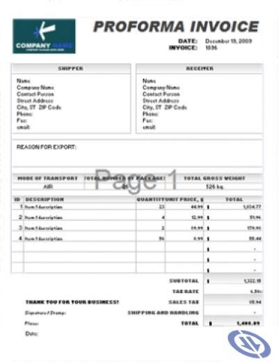 professional invoice template excel image of proforma invoice template from
