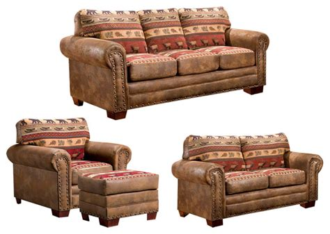 Rustic Living Room Set | sierra lodge 4 piece set rustic living room furniture