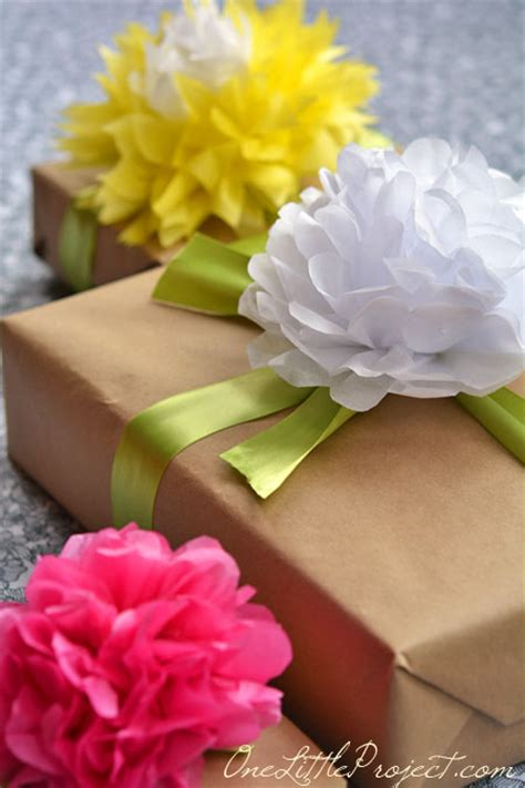 How To Make Wrapping Paper Flowers - gift wrapping with tissue paper flowers