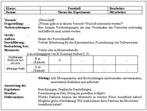 Unterrichtsprotokoll Schreiben Muster Beispiel Versuchsprotokoll