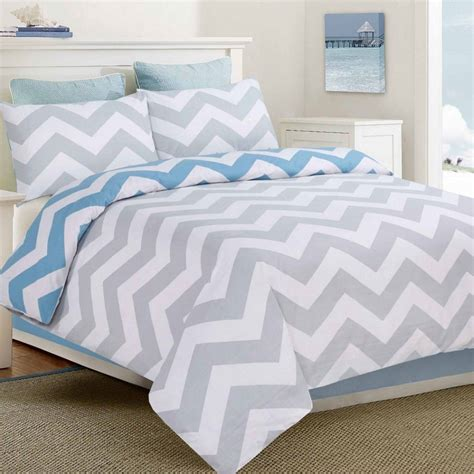 Bed Quilt Cover by Apartmento Ottavio Blue White Grey Chevron King Size Bed Doona Quilt Cover Set Ebay