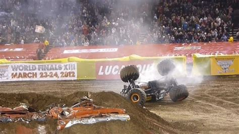 monster truck videos crashes huge crash maximum destruction monster truck monster