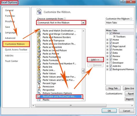 open table the ribbon where are pivot table and pivotchart wizard in excel 2007
