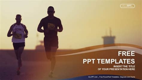 ppt templates free download exercise marathon runners running on city road powerpoint templates
