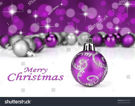 purple silver christmas baubles stars glitter stock photo