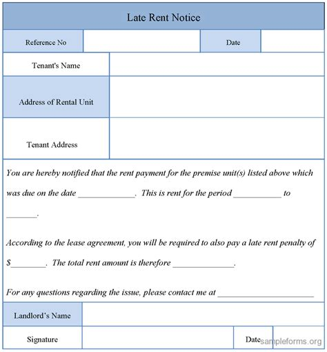 printable sle late rent notice form real estate forms