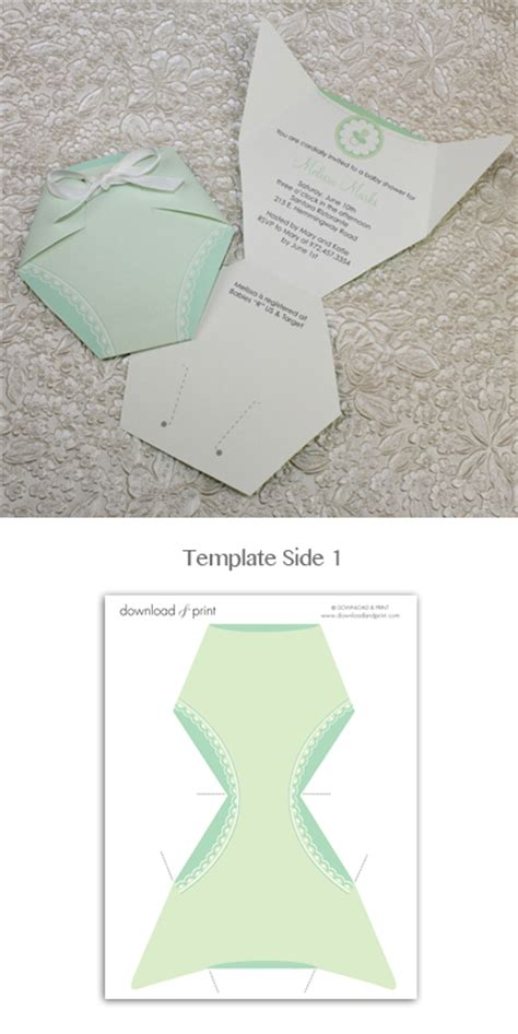 baby shower invitation template green diaper download