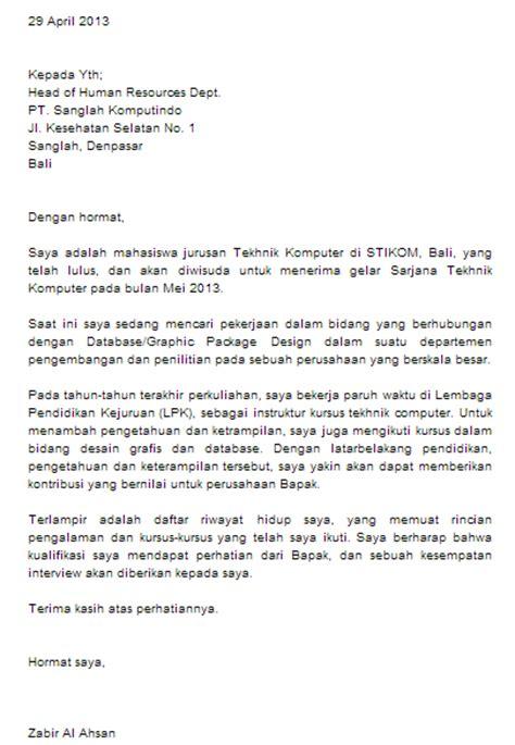 contoh surat lamaran kerja sekretaris dalam bahasa inggris contoh o