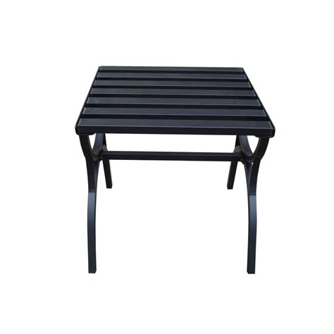Square Patio Tables Shop Garden Treasures 18 In X 18 In Black Steel Square Patio End Table At Lowes