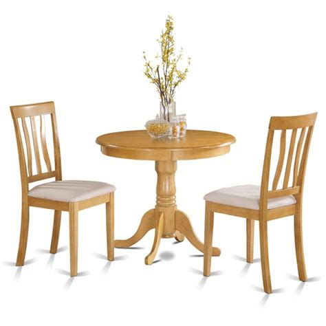oak small kitchen table plus 2 chairs 3 piece dining set