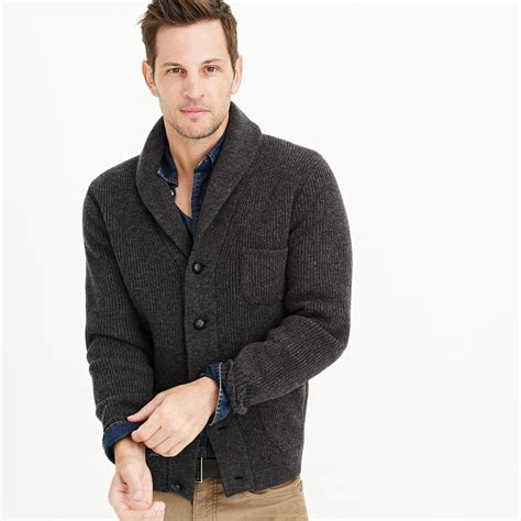 j crew lambswool three pocket cardigan sweater in black for hthr carbon lyst