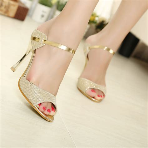 Beautiful Sandals For The by Lakeshi Sandals Gold Sliver Ankle Wrap High