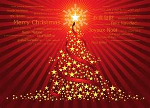 christmas tree red background star new year holiday congratulations foreign languages words