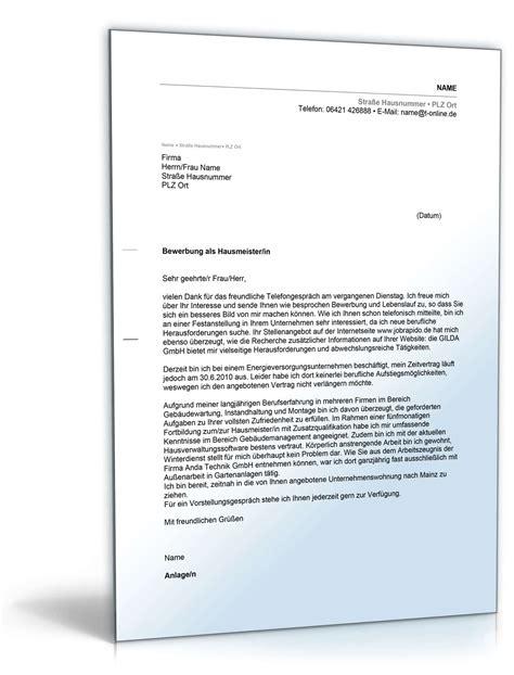 Bewerbung Zum Hausmeister Anschreiben Bewerbung Hausmeister Muster Zum