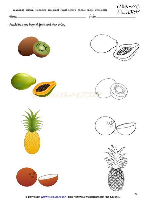 Matching For And - fruits worksheet 29 match the same tropical fruits and