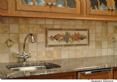 decorative tiles for kitchen backsplash decorative ceramic tile backsplash with summer harvest