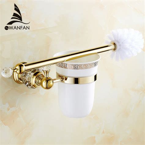 Gold Plated Bathroom Accessories European Style Brass Toilet Brush Holder Gold Plated Toilet Brush Bathroom Products