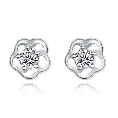 flower design ear studs cubic zirconia cz pave rose flower design 925 sterling