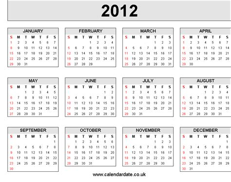 2012 calendar 4 x 3
