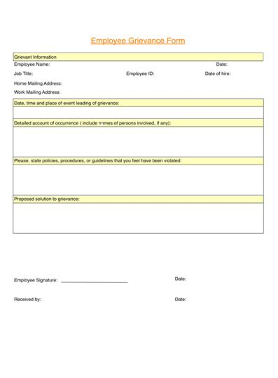 employee grievance form employee grievance form