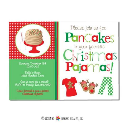 free christmas pj invitation pajamas and pancakes invitation inkberry creative inc