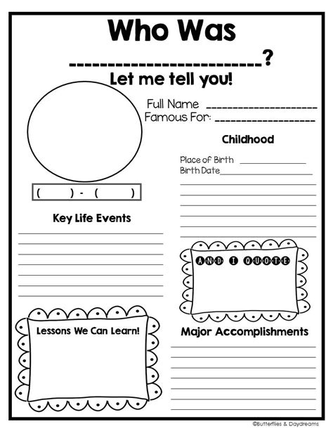 biography graphic organizer 1st grade biography project grades 2 5 biography project social