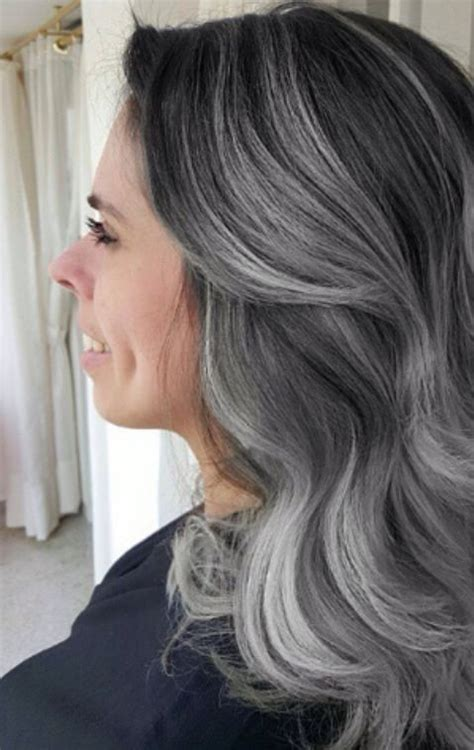black lowlights in white gray hair gray lighter and dark brown on pinterest