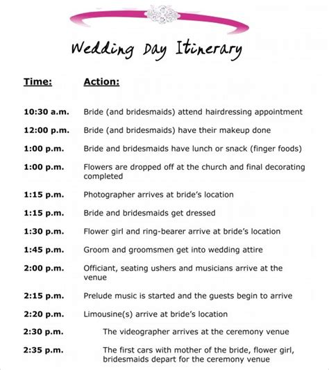 10 Event Itinerary Templates Notes Designs Event Itinerary Template