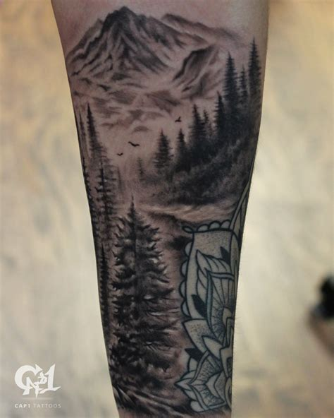 black and grey mountain tattoos cap1 tattoos tattoos capone forest and mountain tattoo