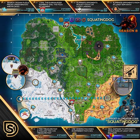 fortnite cheat sheet map  season  week  challenges