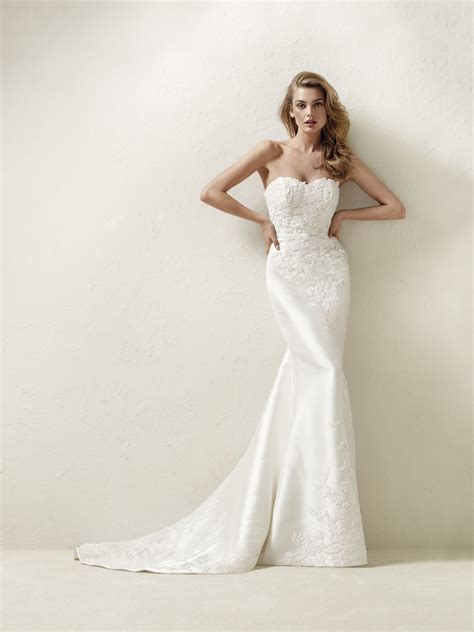 pronovias wedding dresses and cocktail dresses magnificent long lace embroidered draline wedding dress