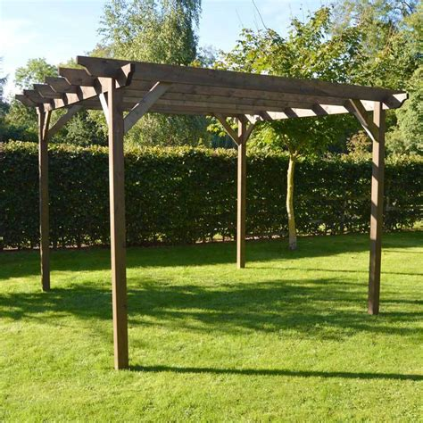 details about wooden garden pergola rustic brown in three