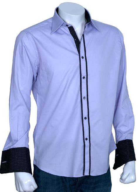 Designer Shirts Xcite Lilac Designer Shirt With Black Dotted Innerts