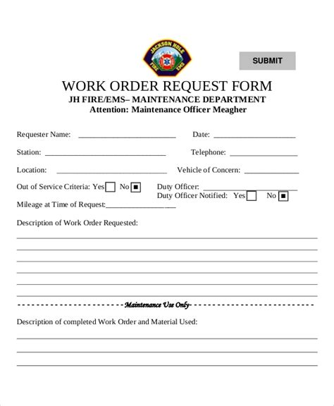 9 Sle Work Request Forms Sle Templates Work Request Form Template