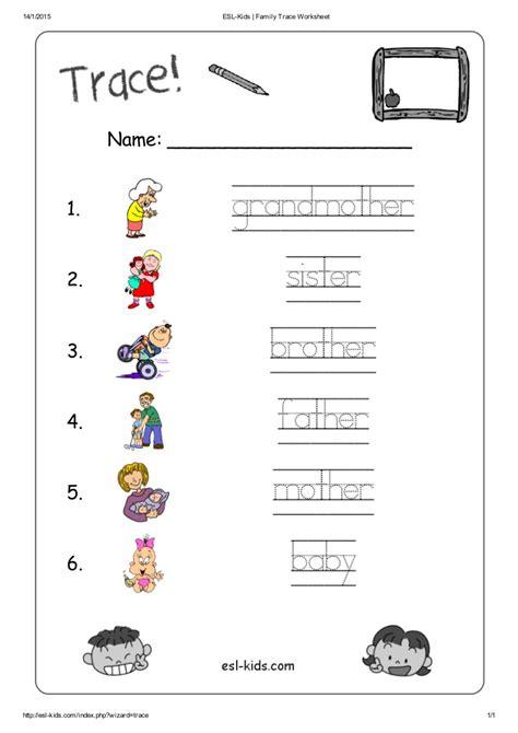 Family Worksheets For Esl esl family trace worksheet