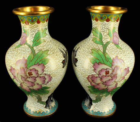 antique 1920 s cloisonne vase vases pair peones