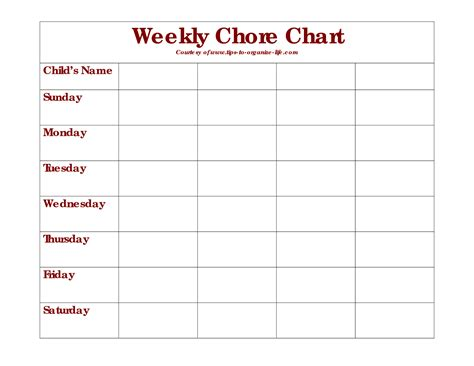 9 best images of monthly chore chart printable templates
