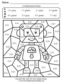 color by number subtraction 2nd grade go math 3 4 practice subtraction facts color by