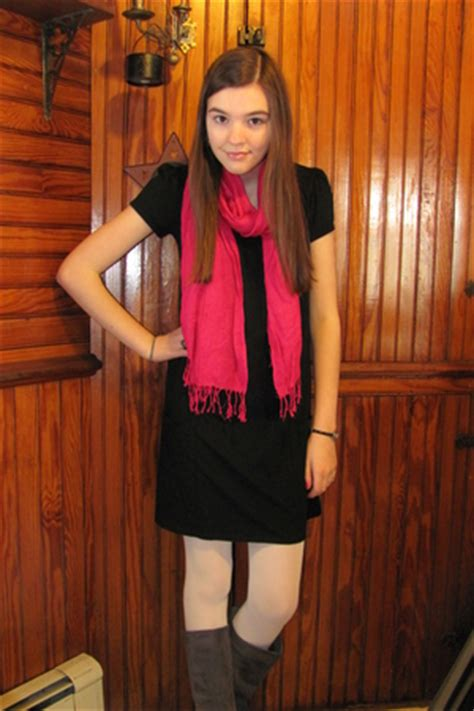 black dresses white tights gray boots pink scarves