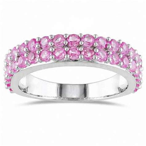 lab created pink sapphire ring in sterling silver