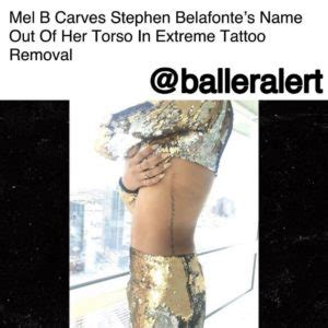 extreme tattoo removal mel b carves stephen belafonte s name out of her torso in